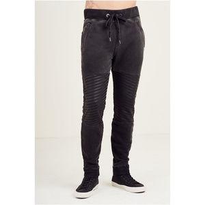 True Religion Men's Slim Cuffed Moto Sweatpants